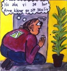 Syntolkning: Teckning av en man från F-kassan som kikar in i ett nyckelhål samtidigt som han tänker: Nu ska vi se hur Arne klarar av sexlivet.